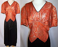Vintage Art Deco Orange Lamé Gold Metallic Black Silk Bias Cut Belted Dress
