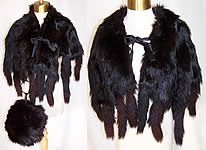 Edwardian Black Fox Fur Tail Stole Shawl Wrap Cape & Winter Muff