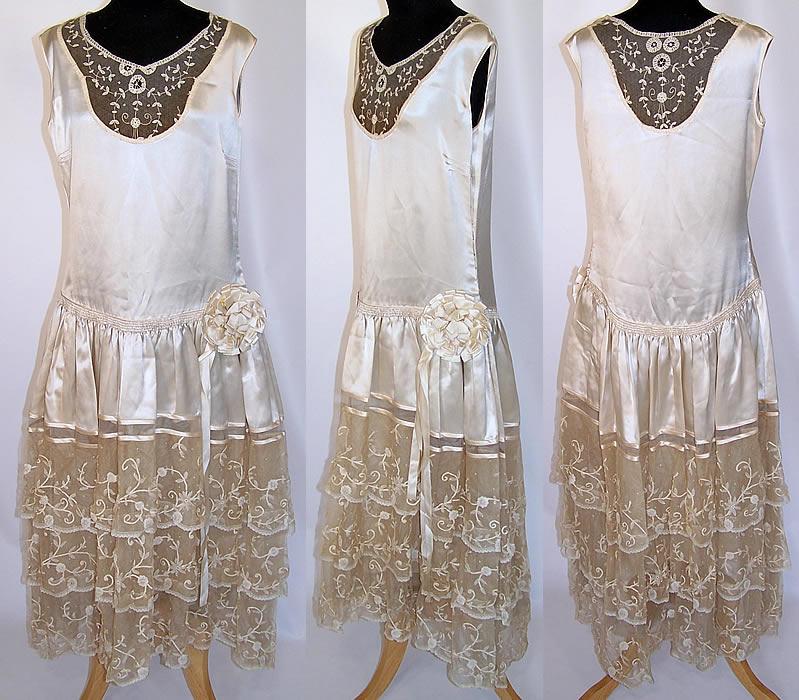 Vintage Wedding Dresses Chicago: Vintage White Silk Rosette Princess Bobbin Lace Drop Waist
