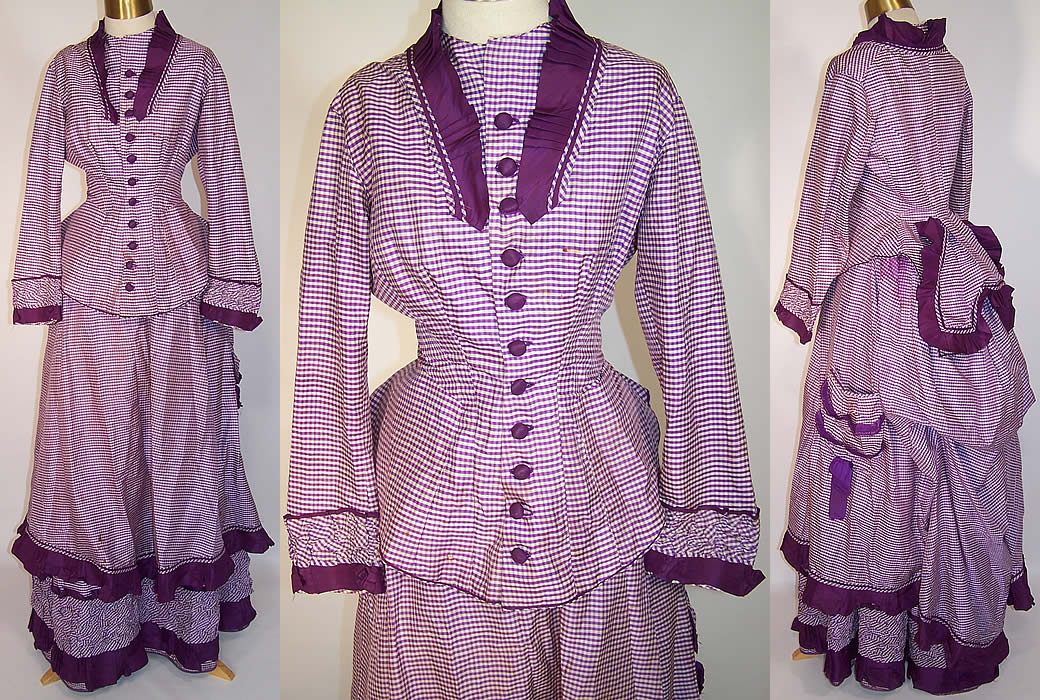 Victorian Purple & White Check Plaid Silk Bustle Gown Dress