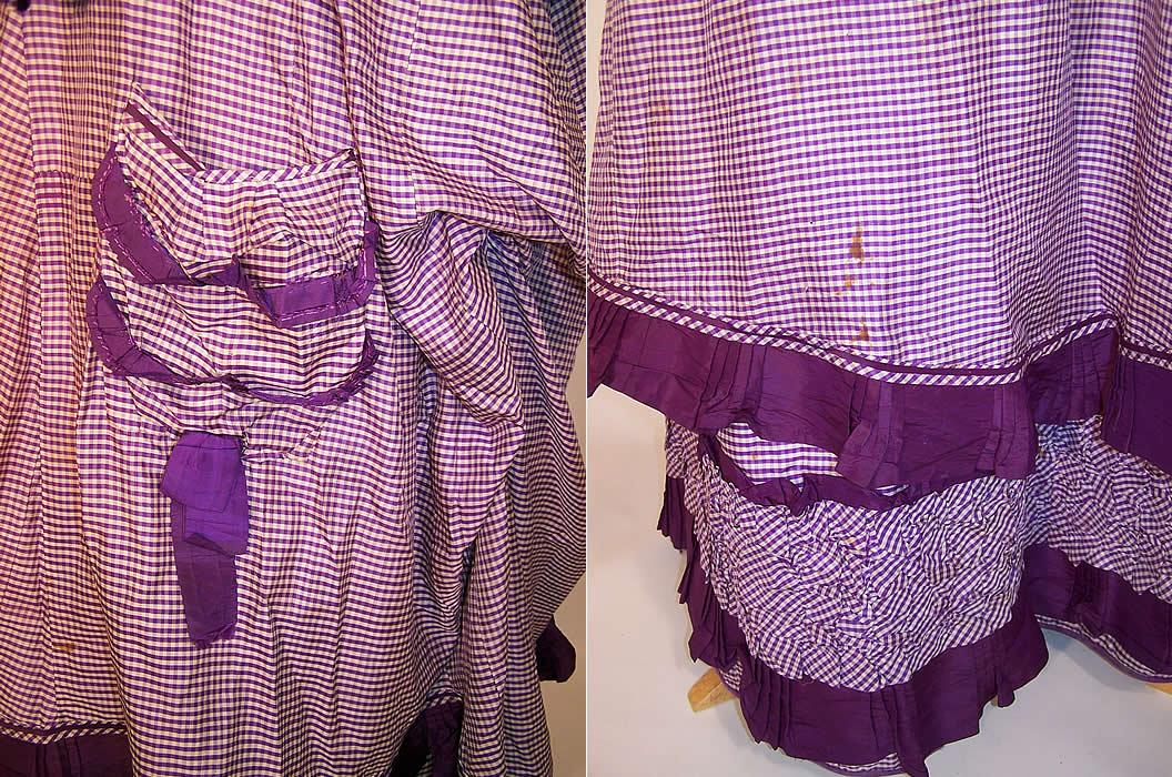 Victorian Purple Amp White Check Plaid Silk Bustle Gown Dress
