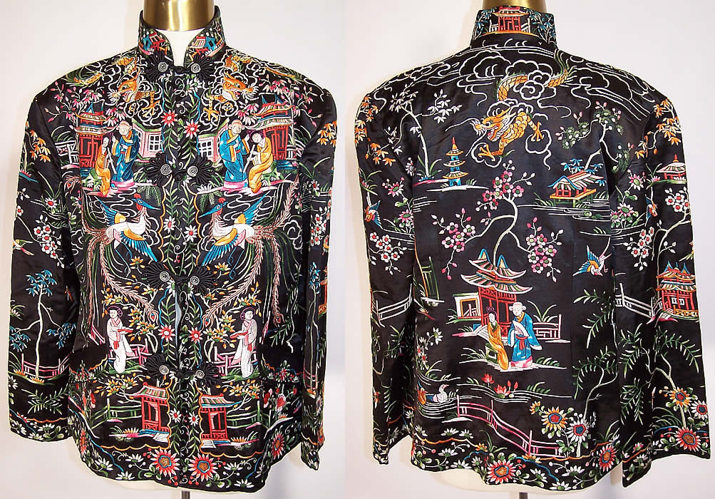Vintage Chinese Figural Pheasant Dragon Silk Embroidered Jacket Coat