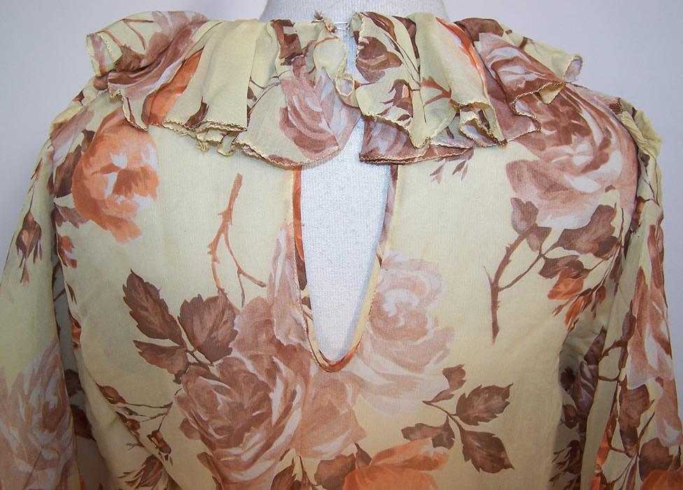 Vintage Yellow Silk Chiffon Rose Flower Print Bias Cut