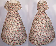 1850s Victorian Floral Cherry Blossom Print Wool Challis Hoop Skirt Dress