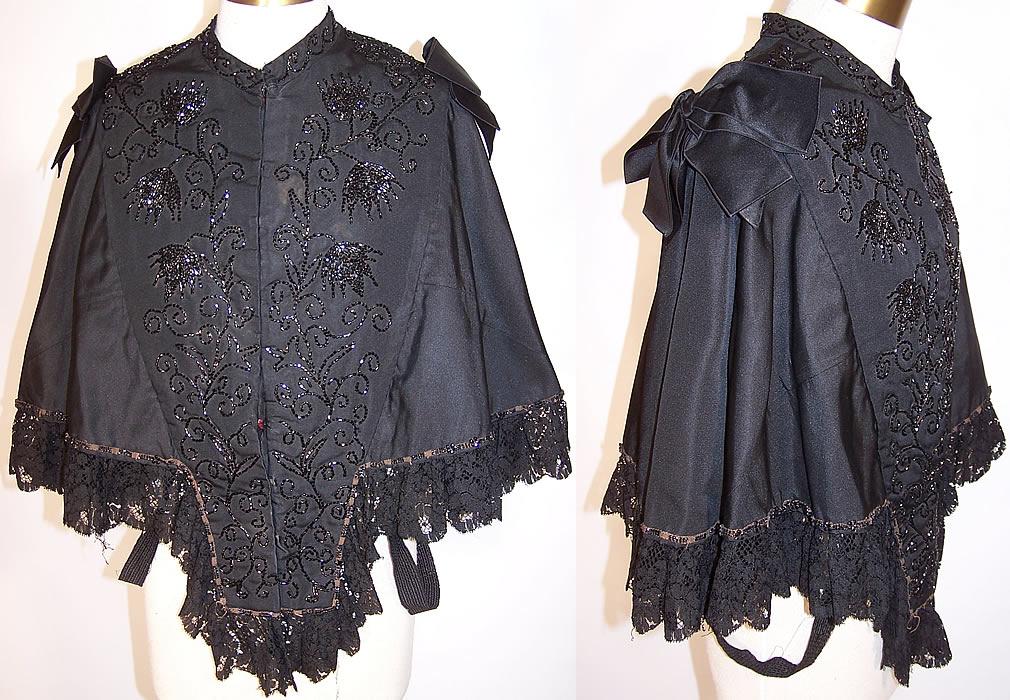 victorian black lace jet beaded mourning mantle cape. Black Bedroom Furniture Sets. Home Design Ideas