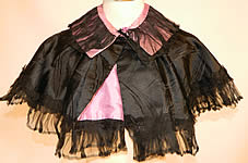 Victorian Black & Purple Silk Mourning Cropped Cloak Cape Capelet