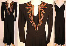Vintage Black Silk Crepe Evening Gown & Pink Sequin Beaded Gold Trim Jacket