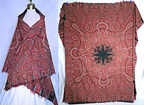 Victorian Antique Jacquard Hand Loom Wool Black Star Center Signed Paisley Shawl