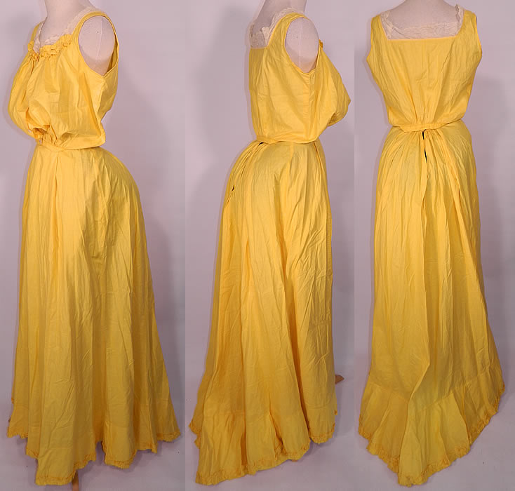 Edwardian Bright Yellow Cotton Camisole Top & Petticoat Skirt Train