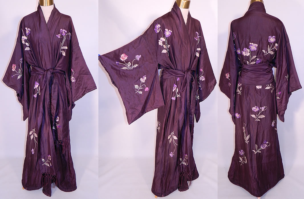 Antique Japanese Purple Plum Pansy Embroidered Silk Sash Kimono Robe