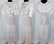 Edwardian White Net Embroidered Tambour Lace Graduation Wedding Dress