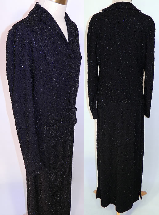 Vintage Black Silk Beaded Evening Dress Suit Jacket & Long Skirt