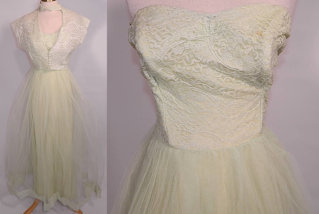 Vintage Harlene Design Mint Green Lace Tulle Net Strapless Formal Dress & Jacket