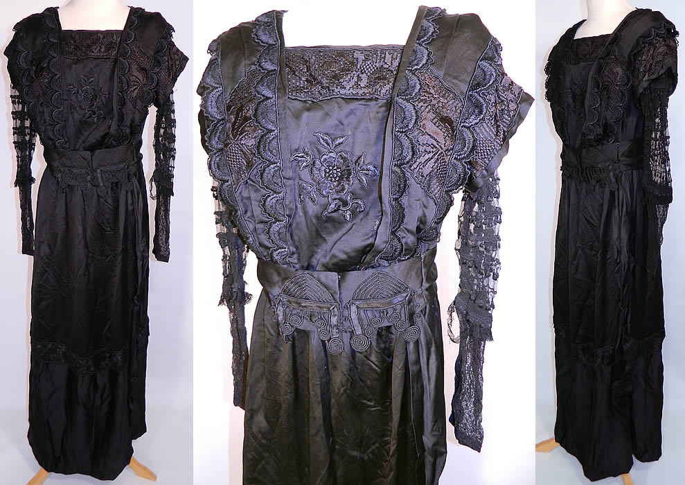 Edwardian Embroidered Black Silk Lace Applique Art Nouveau Vintage Dress