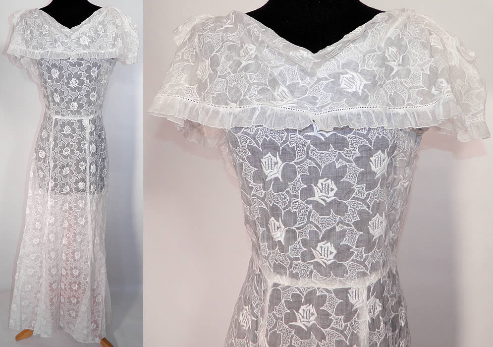 Vintage 1930s White Organdy Embroidered Roses Shawl Collar Dress
