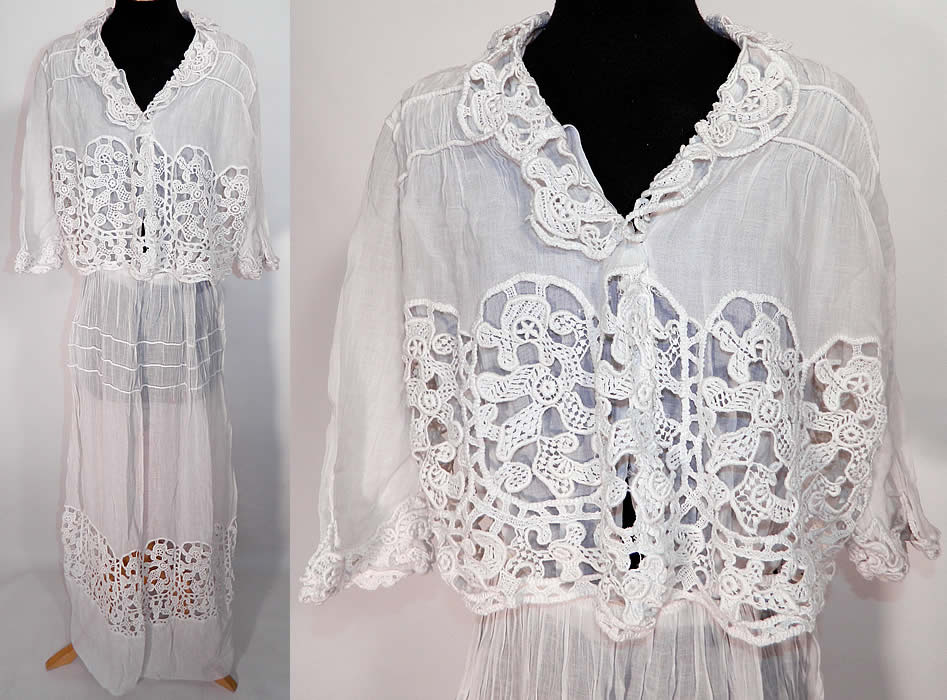 Edwardian Vintage White Cotton Batiste Lace Over Blouse Graduation Tea Dress
