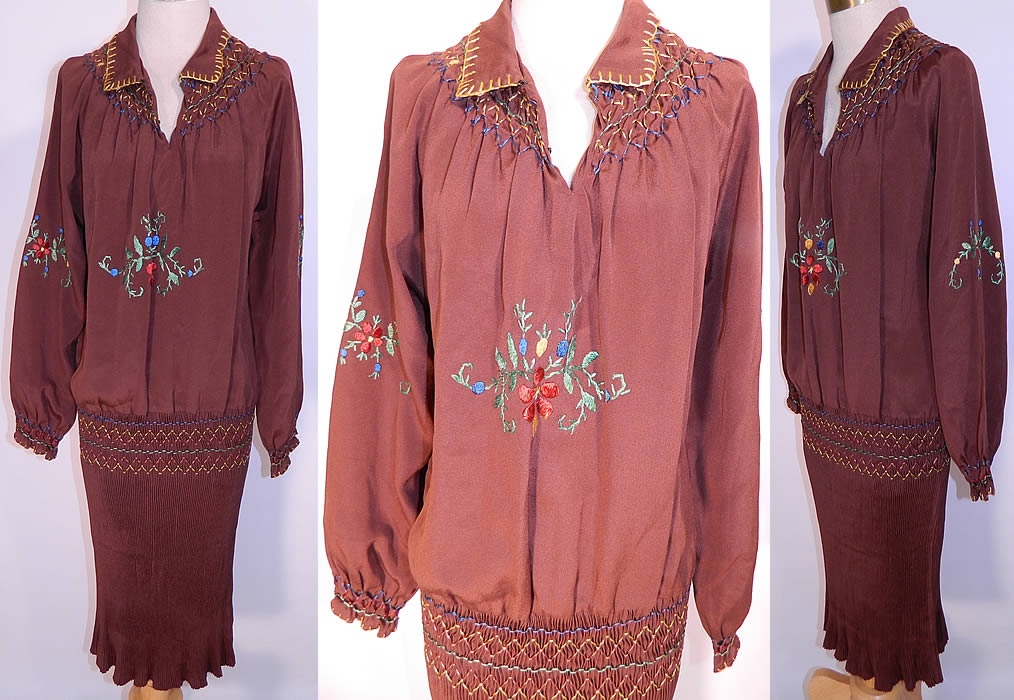 Vintage Brown Silk Pleated Skirt Drop Waist Floral Embroidered Boho Peasant Dress