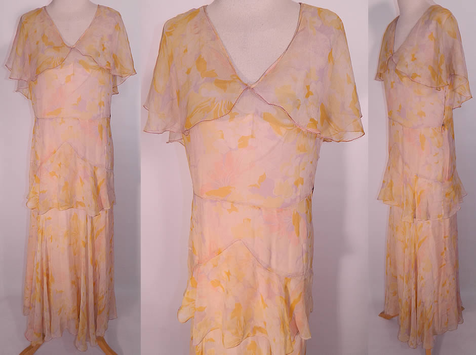 1930s Vintage Pastel Silk Chiffon Floral Print Shawl Collar Bias Cut Dress