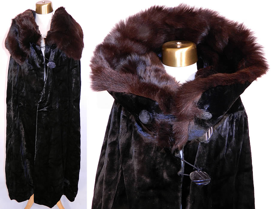 Vintage Salt's Peco Black Plush Silk Seal Velvet Opera Cloak Winter Cape