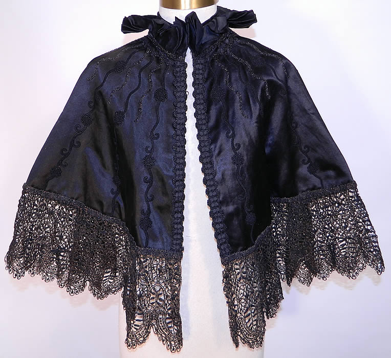 Victorian Vintage Black Silk Jet Beaded Lace Trim Evening Cloak Cape