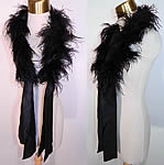 Victorian Black Ostrich Feather Neck Boa Collar Scarf Silk Ribbon Ties