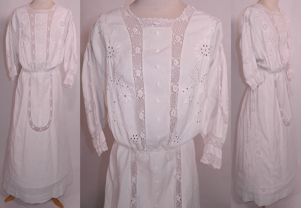 Edwardian White Linen Embroidered Eyelet Irish Crochet Lace Graduation Tea Dress
