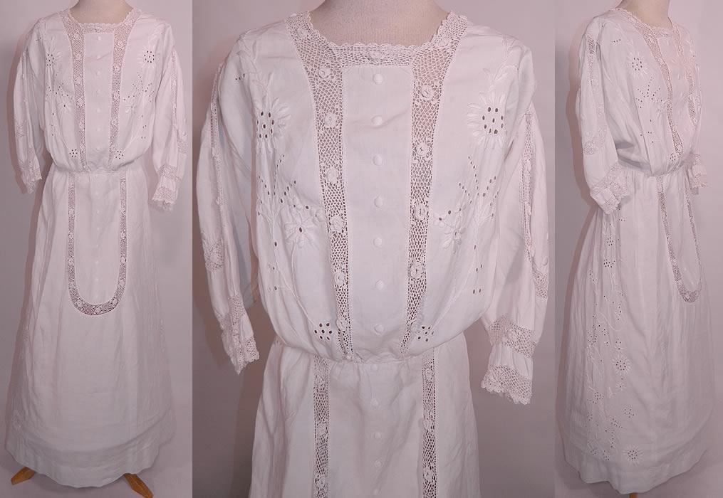 Edwardian White Linen Embroidered Eyelet Irish Crochet Lace