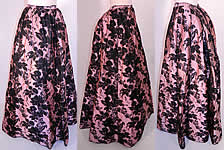 Victorian Pink & Black Floral Silk Damask Brocade Ball Gown Bustle Skirt