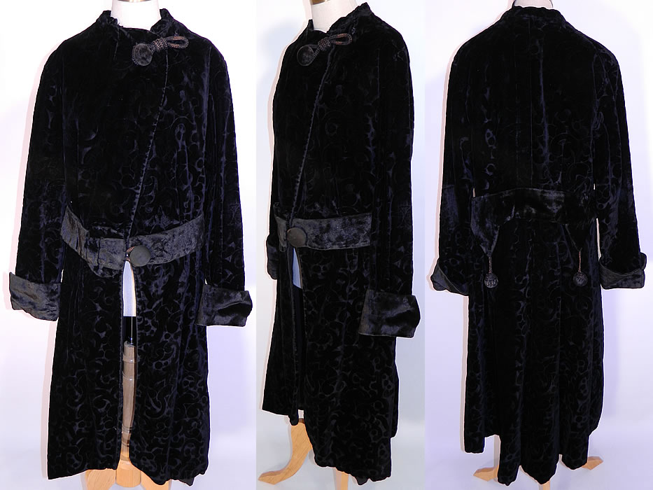 Edwardian Titanic Era Black Voided Velvet Winter Coat Evening Jacket