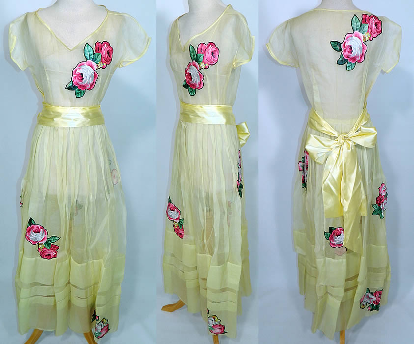 1940s Vintage Yellow Organdy Pink Roses Chintz Applique Belted Dress