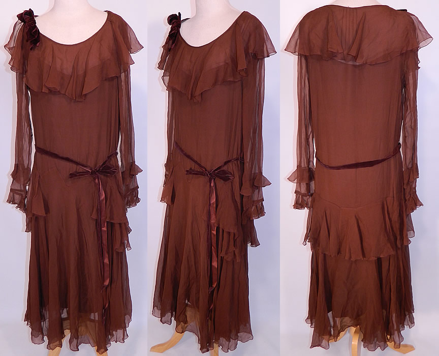 1920s Vintage Chocolate Brown Silk Chiffon Peplum Ruffle Belted Drop Waist Dress