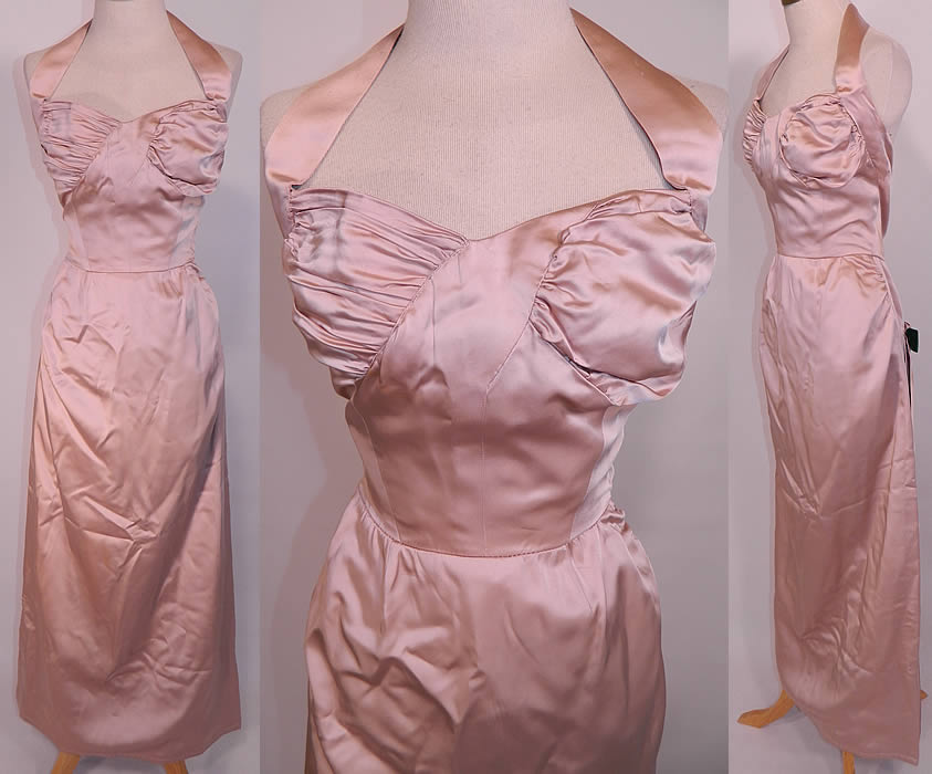 1950s Vintage Modes Royale Blush Silk Satin Sheath Wiggle Dress Evening Gown