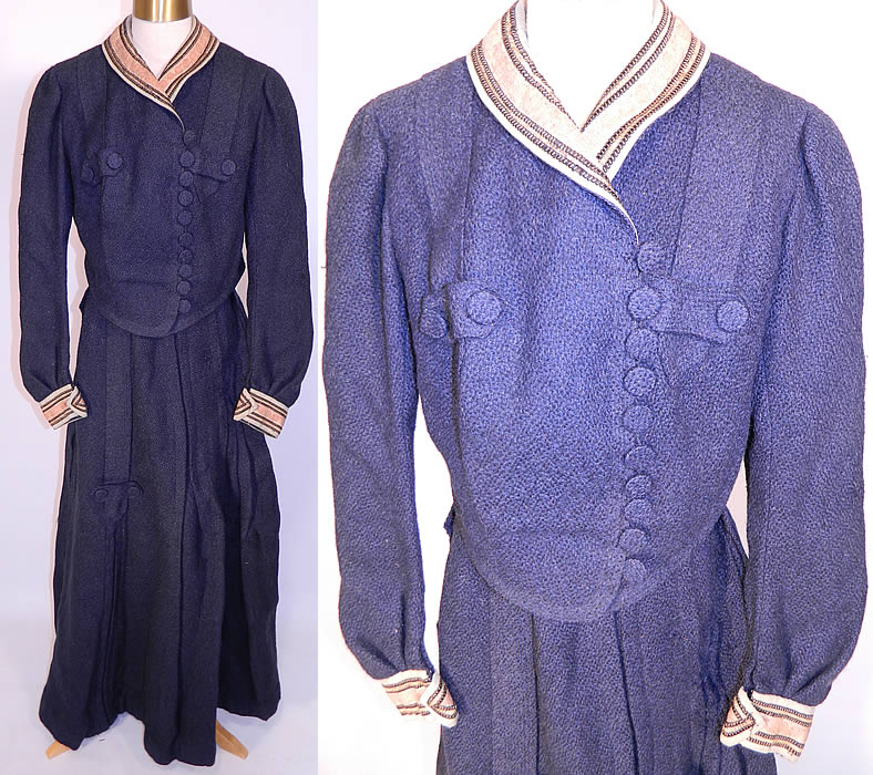 Edwardian Navy Blue Boucle Knit Wool Walking Suit Dress Bodice & Skirt