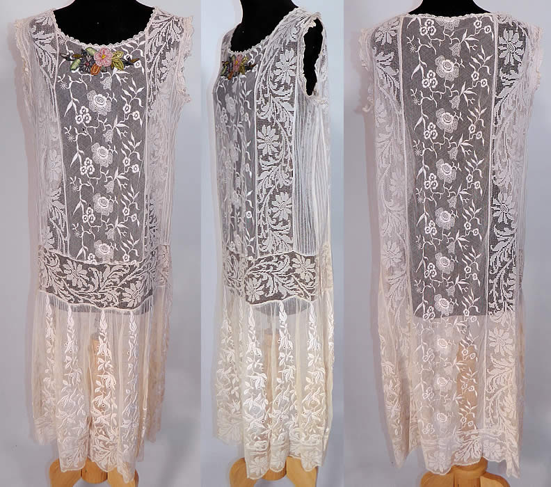 Vintage Silk Rosette Trim White Embroidered Net Filet Lace Drop Waist Dress