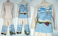 Vintage Allie Flynn Evan Roberts Claude Monet Painted Pant Suit Jacket Bell Bottoms