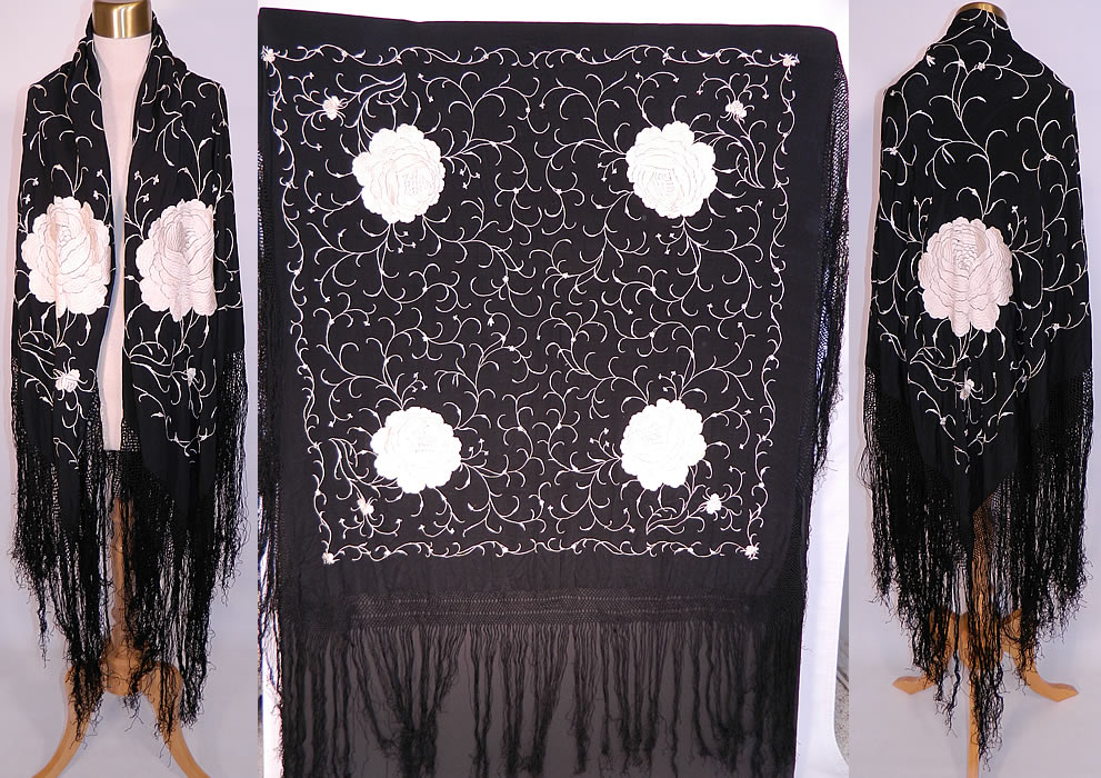 Vintage Antique Black & White Floral Silk Embroidered Canton Piano Shawl