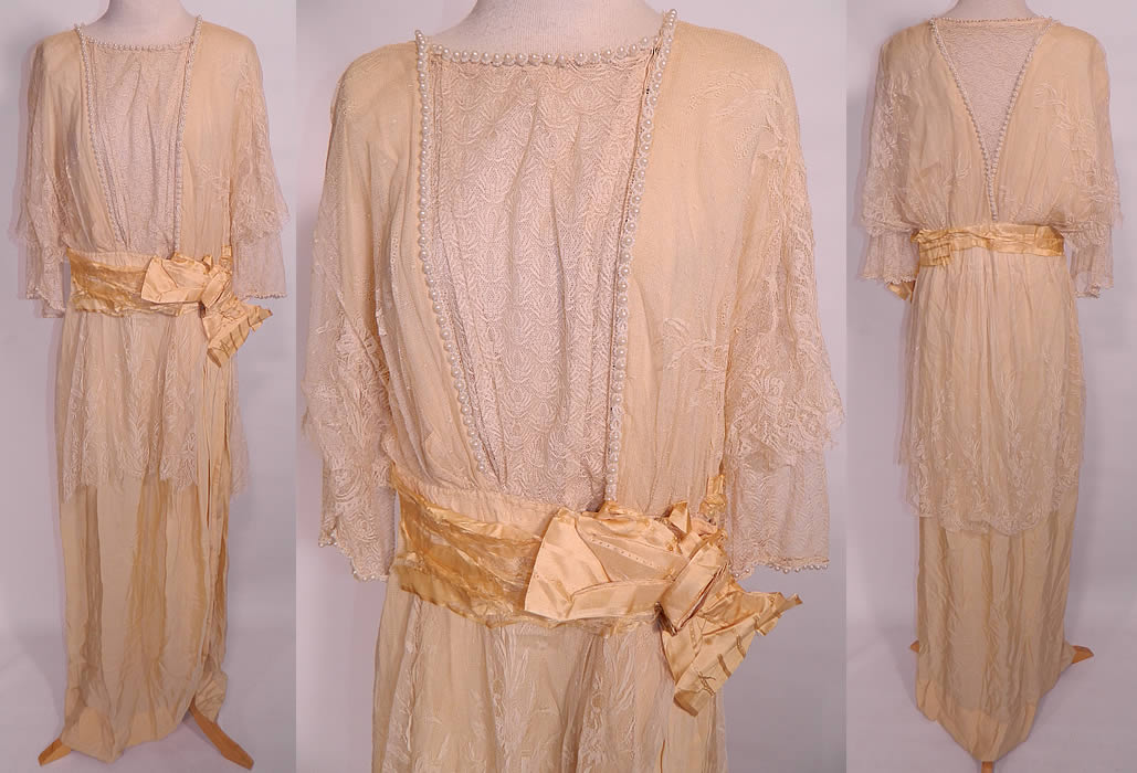 Edwardian Titanic Era Cream Silk Lace Pearl Beaded Wedding Gown Dress