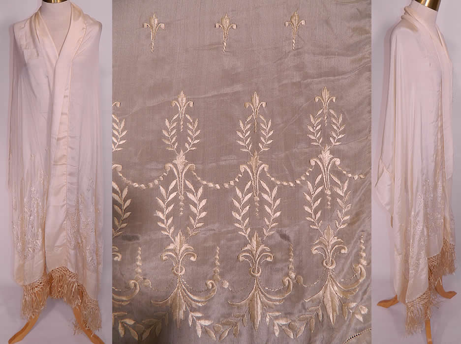 Antique Cream Silk Embroidered Fleur de Lis Fringed Wedding Shawl Scarf