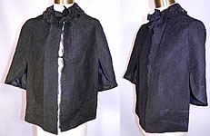 Victorian Antique Black Chantilly Lace Mourning Mantle Cape Dolman Capelet
