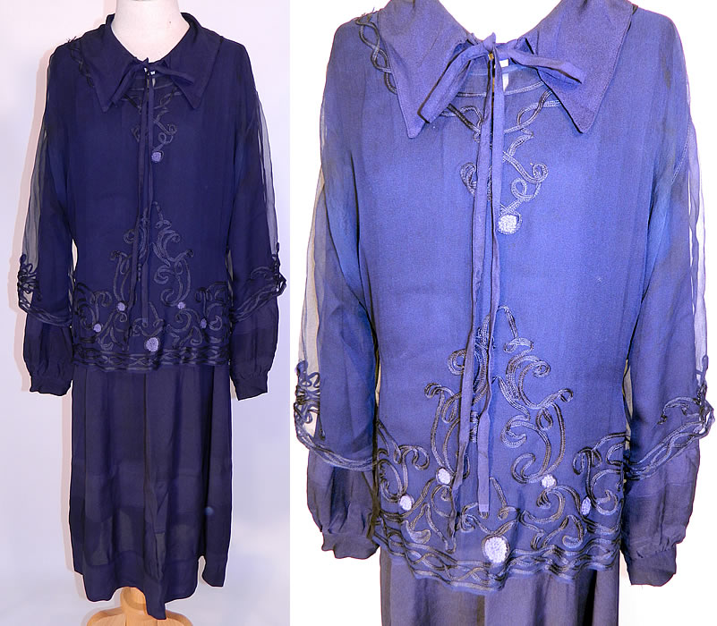 Vintage Navy Blue Silk Soutache Embroidered Belted Blouse & Drop Waist Dress