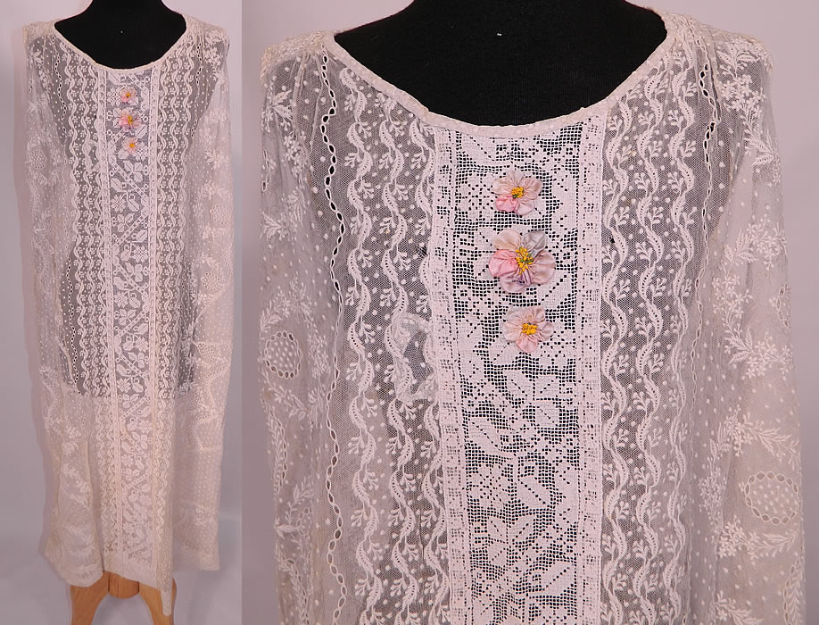 Vintage Silk Rosette White Embroidered Net Filet Lace Drop Waist Chemise Dress