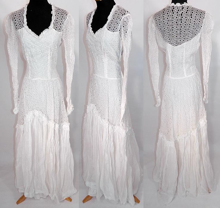 Vintage White Eyelet Flower Organdy Wedding Gown Dress