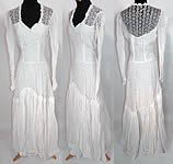 1940s Vintage WWII White Eyelet Flower Organdy Wedding Gown Dress