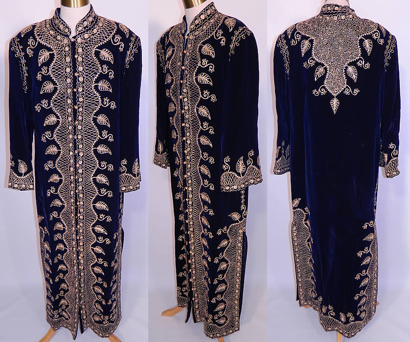 Vintage Adonis Lebanon Blue Velvet Gold Embroidered Boho Kaftan Robe Coat