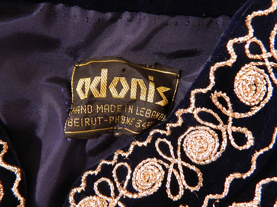 "Vintage Adonis Lebanon Blue Velvet Gold Embroidered Boho Kaftan Robe Coat.There is an ""Adonis Hand Made in Lebanon Beirut"" label sewn inside."