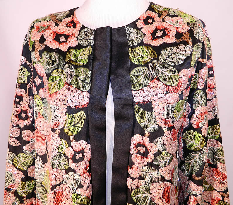 Vintage Art Deco Floral Silk Embroidered Sequin Beaded Long Coat Jacket. This amazing antique vintage Art Deco floral silk embroidered sequin beaded long coat jacket dates from the 1920s.