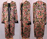 Vintage Art Deco Floral Silk Embroidered Sequin Beaded Long Coat Jacket