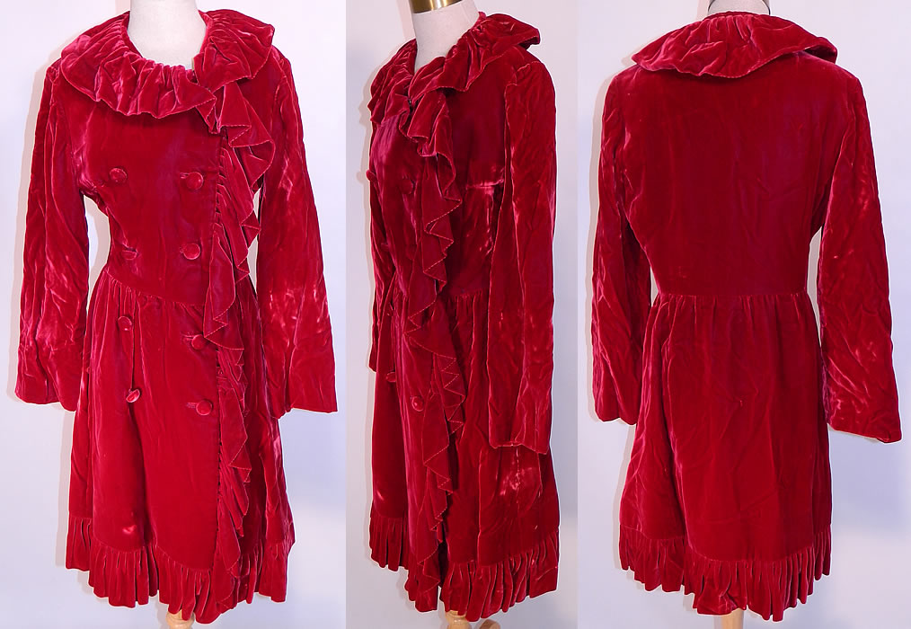 "Vintage Donald Brooks Red Velvet Ruffle Double Breasted Evening Dress Coat. This marvelous mod dress coat is double breasted with velvet button closures, a velvet ruffle collar flounce neckline and trim edging, long full sleeves, a fitted waist, short skirt and is fully lined, with a ""Donald Brooks"" designer label sewn inside."