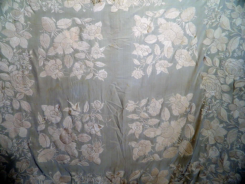 Antique Cream White Silk Embroidered Floral Canton Wedding Piano Shawl. It is made of an off white cream color silk fabric background, with off white silk raised padded satin stitch hand embroidery work.