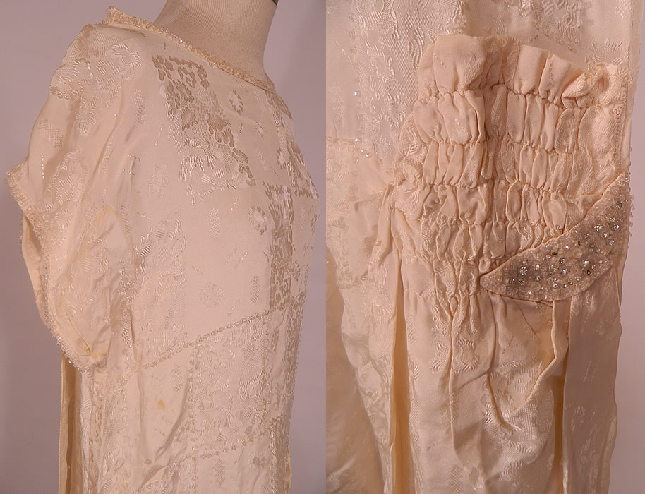 Vintage white silk damask beaded bridal wedding watteau for Loose fitting wedding dresses